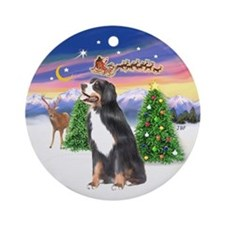 Bernese Mountain Dog Xmas Tree Ornament (Round)
