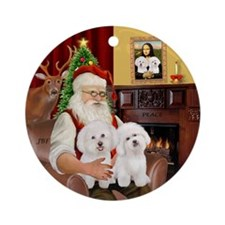 Santa's Two Bichon Ornament (round)