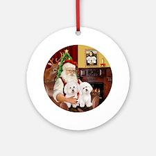 Santa's Two Bichon Ornament (round)