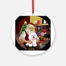 Santa's Bichon Frise Ornament (Round)