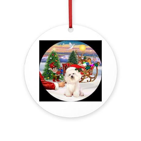 Bichon Frise & Santa's Treat Keepsake (Round)
