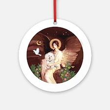 Seated Angel/Bichon Ornament (Round)