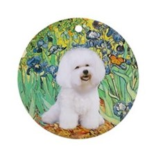 Bichon Frise in Irises Keepsake (Round)