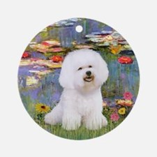 Monet's Lilies and Bichon Frise Ornament (Round)