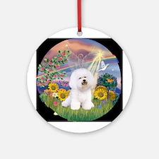 Cloud Angel & Bichon Frise Ornament (Round)