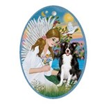 Angel Loving a Border Collie Ornament (Oval)