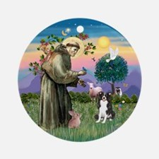 St Francis/ Border Collie Ornament (Round)