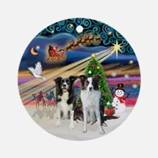 Xmas Magic-2 Border Collies (BBr) Ornament (Round)