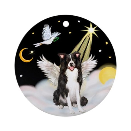 Border Collie Angel in Heaven Ornament (Round)