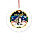 Xmas Sunrise-PEACE-Border Collie Ornament (Round)