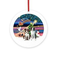 Xmas Magic - 2 Border Collies Ornament (Round)