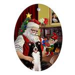 Santa's Border Collie Oval Ornament