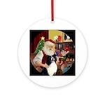 Santa and his Border Collie Ornament (Round)