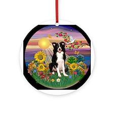 Border Collie Autumn Sun Ornament (Round)
