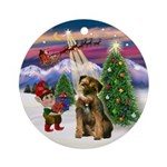 Santa's Take Off & Border Terier Ornament (Round)