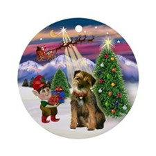 Santa's Take Off & Border Terier Ornament (Round)