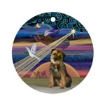 Xmas Star Border Terrier Ornament (Round)