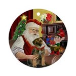Santa's Border Terrier Ornament (Round)