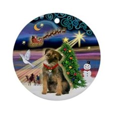 Xmas Magic Border Terrier Ornament (Round)