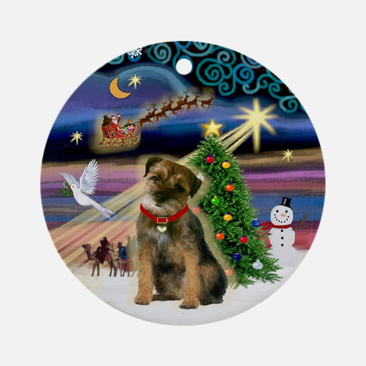 Xmas Magic Border Terrier Ornament (Round)