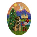 Border Terrier Xmas Fantasy Oval Ornament