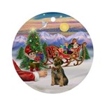Santa's Treat - Border Terrier Ornament (Round)