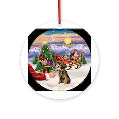 Santa's Treat - Border Terrier Ornament (Round)