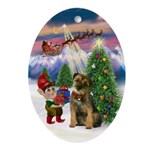 Santa's Take Off & Border Terrier Oval Ornament