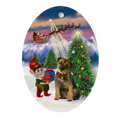 Santa's Take Off & Border Terrier Oval Ornament