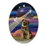 Christmas Star & Border Terrier Oval Ornament