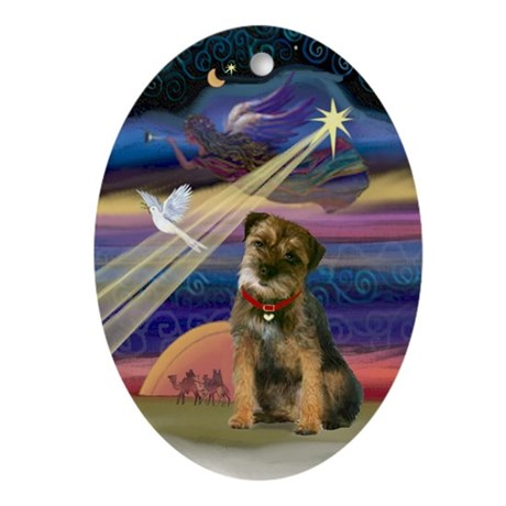 Christmas Star & Border Terrier Oval Ornament