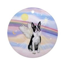 Clouds/ Boston Terrier Angel Ornament (Round)