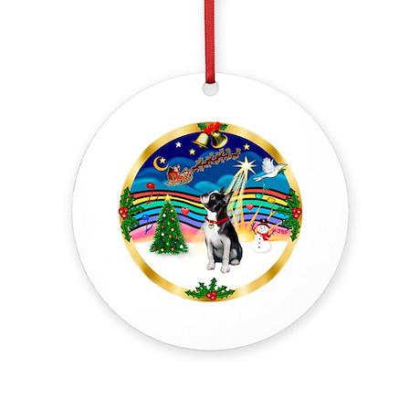 XmasMusic3-Boston Terrier Ornament (Round)