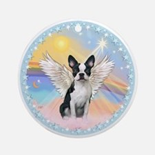 Clouds/Boston Terrier Angel Ornament (Round)