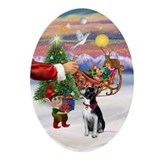 Boston terrier christmas Oval Ornaments