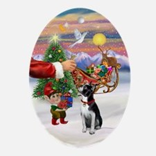 Santa's Boston Terrier Treat Oval Ornament