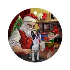Santa's Boston Terrier Ornament (Round)