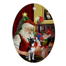 Santa & his Boston Terrier Oval Ornament