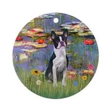Monet's Lilies & Boston Terrier Ornament (Round)