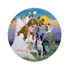 Angel and Boston Terrier Ornament (Round)