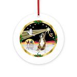 Xmas Dove & Boxer Ornament (Round)