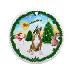 Santa's Take Off1 - Boxer Ornament (Round)