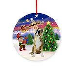 Santa's Take Off and Boxer (crpd) Ornament (Round)