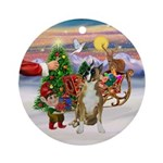 Santa's Treat for his Boxer Ornament (Round)