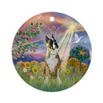 Boxer and Cloud Angel Ornament (Round)