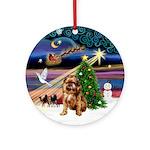 Xmas Magic & Brussels Griffon Ornament (Round)
