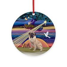 Xmas Star & Bull Mastiff (1) Ornament (Round)