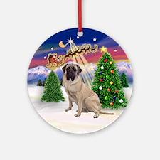 Santa's Take Off & Bull Mastiff Ornament (Round)