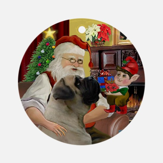 Santa's English Bull Mastiff Ornament (Round)