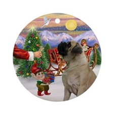Santa's Treat for his Mastif Ornament (Round)